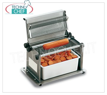 TECHNOCHEF - Manual sausage cutter 34 Blades, Cutting Thickness 6 mm, Model TW6 Manual frankfurter in stainless steel with 34 blades, cutting thickness 6 mm, weight 2 Kg, dim.mm.280x170x170 / 270h