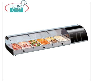 Technochef - COUNTER REFRIGERATED DISPLAY CABINET, capacity from 4 to 10 GN 1/3 containers Refrigerated counter display case with curved glass, capacity 4 Gastro-Norm 1/3 containers, temperature + 3 ° / + 5 ° C, V.230 / 1, Kw. 0.262, Weight 30 Kg, dim.mm.1085x380x255h