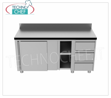 AISI 304 stainless steel cupboard, with backsplash and chest of drawers, 700 Line Neutral cupboard table with upstand, sliding doors, intermediate shelf and chest of drawers with 3 drawers, dim.mm.1500x700x850h