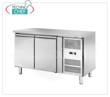 Frigor Table 2 Doors, Temp. -2 ° / + 8 ° C, lt. 228, Ventilated, Class C, mod.AKS2100TN Refrigetato Counter Table 2 DOORS, Professional, SNACK Line, Temp. -2 ° / + 8 ° C, capacity 228 liters, ventilated refrigeration, ECOLOGICAL in Class C, Gas R290, V.230 / 1, Kw.0.22, Weight 86 Kg, dim.mm.1360x600x860h