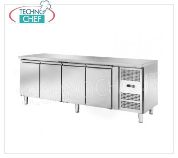 Frigor Table 4 Doors, Temp. -2 ° / + 8 ° C, lt. 449, Ventilated, Class D, mod.AKS4100TN Refrigetato Bench Table 4 DOORS, Professional, SNACK Line, Temp. -2 ° / + 8 ° C, capacity 449 liters, ventilated refrigeration, ECOLOGICAL in Class D, Gas R290, V.230 / 1, Kw.0,345, Weight 153 Kg , dim.mm.2230x600x860h