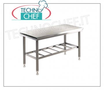 Butcher tables with stainless steel top, depth 700 mm Butcher work table with stainless steel top, on RUGGED STAINLESS WELDED STRUCTURE with grilled lower shelf, dim. 1000x700x850h mm