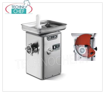 Technochef - REFRIGERATED MEAT, BOCCA 22, YIELD 350 Kg / h, mod. TC22BARCELLONAICE REFRIGERATED MEAT GRINDER, with BOCCA 22, THERMOELECTRIC COOLING SYSTEM on the neck and mouth, YIELD 350 Kg / h, version with predisposition HAMBURGATRICE, Professional, Industrial, V.230 / 1, Kw.1,1, Weight 34 Kg, dim.mm. 310x350x540h
