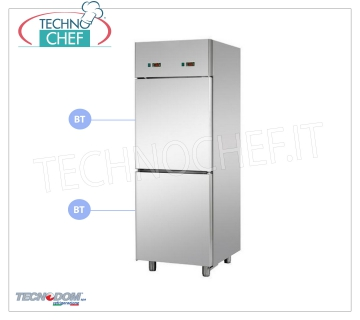Professional Combined Freezer Cabinet 2 1/2 doors, double temperature, 700 lt, TECNODOM Brand Combined Refrigerator / Freezer Cabinet 2 half doors, TECNODOM Brand, stainless steel structure, lt.700 capacity, double temperature -18 ° / -22 ° C, -18 ° / -22 ° C, ventilated refrigeration, GN 2/1, V.230 / 1, Kw.0.65 + 0.65, Weight 150 Kg, dim.mm.710x800x2030h