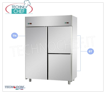 Professional Fridge-Freezer Wardrobe 1 door + 2 1/2 doors, 2 temperatures, lt.1400, TECNODOM Combined Refrigerator / Freezer Cabinet 1 door + 2 half doors, TECNODOM Brand, stainless steel structure, lt.1400, double temperature 0 ° / + 10 ° C, -18 ° / -22 ° C, ventilated refrigeration, GN 2/1 , V.230 / 1, Kw.0.385 + 0.65, Weight 192 Kg, dim.mm.1420x800x2030h