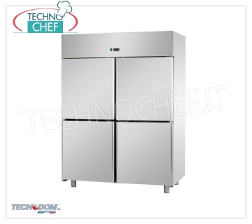 Industrial-Professional Freezer Cabinet 4 1/2 doors, lt.1400, PASTRY, TECNODOM Brand Refrigerated Cabinet / Freezer 4 half-doors, Brand TECNODOM, with stainless steel structure, lt.1400 capacity, low temperature -18 ° / -22 ° C, ventilated refrigeration, PASTRY TABLES Trays 600x400 mm, V.230 / 1, Kw.0 , 7, Weight 175 Kg, dim.mm.1420x800x2030h