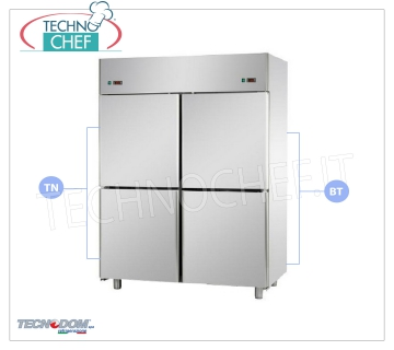 Combined Professional Fridge-Freezer Cabinet 4 1/2 doors, double temperature, lt.1400, TECNODOM Brand Combined Refrigerator / Freezer Cabinet 4 half doors, TECNODOM Brand, stainless steel structure, lt.1400 capacity, double temperature 0 ° / + 10 ° C, -18 ° / -22 ° C, ventilated refrigeration, GN 2/1, V .230 / 1, Kw.0.385 + 0.65, Weight 195 Kg, dim.mm.1420x800x2030h