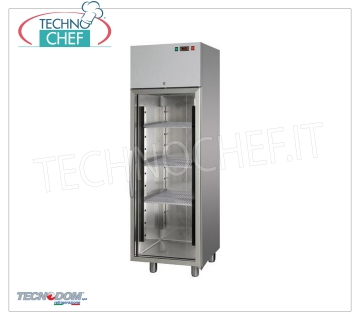 Industrial-Professional Freezer Cabinet 1 glass door, lt. 400, negative temperature, TECNODOM brand Refrigerator / Freezer cabinet 1 glass door, TECNODOM brand, with stainless steel structure, capacity lt. 400, low temperature -18 ° / -22 ° C, ventilated refrigeration, V.230 / 1, Kw.0,65, Weight 90 Kg, dim.mm.600x620x1900h