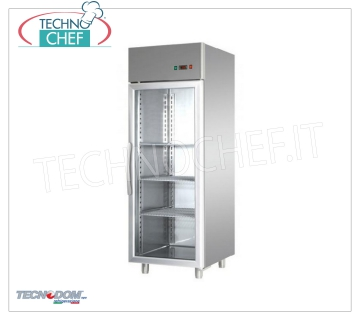 TECNODOM - Technochef, Professional Freezer Cabinet 1 Glass Door, lt. 600, Mod AF06EKOMB Refrigerator / Freezer cabinet 1 glass door, TECNODOM brand, with stainless steel structure, capacity lt.600, low temperature -18 ° / -22 ° C, ventilated refrigeration, V.230 / 1, Kw.0.65, Weight 132 Kg, dim.mm.710x700x2030h