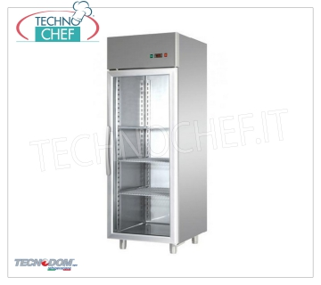 Industrial-Professional Freezer Cabinet 1 glass door, lt.700, negative temperature, TECNODOM brand Refrigerator / Freezer cabinet 1 glass door, TECNODOM brand, with stainless steel structure, capacity 700 liters, low temperature -18 ° / -22 ° C, ventilated refrigeration, Gastro-Norm 2/1, V.230 / 1, Kw .0,65, Weight 144 Kg, dim.mm.710x800x2030h