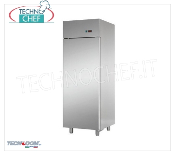 TECNODOM - Fridge Cabinet 1 Door, lt.700, Professional, Ventilated, Class D, Mod.AF07EKOMTN 1 door refrigerator cabinet, TECNODOM brand, stainless steel structure, lt.700 capacity, operating temperature 0 ° / + 10 ° C, ventilated refrigeration, Gastro-Norm 2/1, V.230 / 1, Kw.0,385, Weight 110 Kg, dim.mm.710x800x2030h