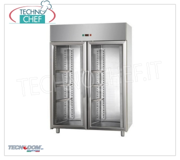 Industrial-Professional Freezer Cabinet 2 glass doors, lt.1200, negative temperature, TECNODOM brand Refrigerator / Freezer cabinet with 2 glass doors, TECNODOM brand, with stainless steel structure, capacity 1200 liters, low temperature -18 ° / -22 ° C, ventilated refrigeration, V.230 / 1, Kw.0,7, Weight 189 Kg, dim.mm.1420x700x2030h