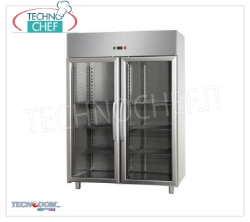 Industrial-Professional Freezer Cabinet 2 glass doors, lt.1400, negative temperature, TECNODOM brand Refrigerator / Freezer cabinet 2 glass doors, TECNODOM brand, with stainless steel structure, capacity lt.1400, low temperature -18 ° / -22 ° C, ventilated refrigeration, V.230 / 1, Kw.0,7, Weight 199 Kg, dim.mm.1420x800x2030h
