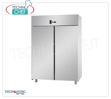 Industrial-Professional 2-door Fridge Wardrobe, lt.1400, PASTRY, TECNODOM Brand 2 door refrigerator cabinet, TECNODOM brand, with stainless steel structure, capacity lt.1400, operating temperature 0 ° / + 10 ° C, ventilated refrigeration, PASTRY TABLE mm 600x400, V.230 / 1, Kw.0,57 , Weight 160 Kg, dim.mm.1420x800x2030h