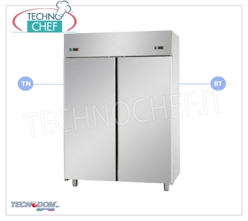 Professional 2-door Combined Fridge-Freezer wardrobe, double temperature, lt.1400, TECNODOM brand 2-door Refrigerator / Freezer Cabinet, TECNODOM Brand, stainless steel structure, lt.1400 capacity, double temperature 0 ° / + 10 ° C, -18 ° / -22 ° C, ventilated refrigeration, GN 2/1, V. 230/1, Kw.0.385 + 0.65, Weight 195 Kg, dim.mm.1420x800x2030h