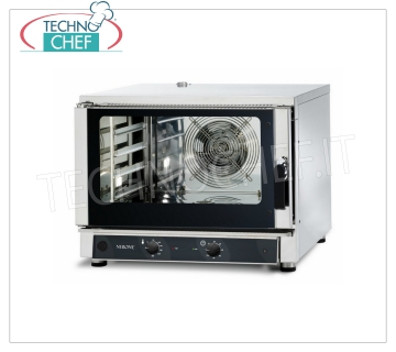 Tecnodom - Electric Steam Convection Oven 4 GN 1/1 Trays, MECHANICAL CONTROLS, mod. FEM04NEMIDVH2O CONVENTION-STEAM OVEN Electric Ventilated, Professional, capacity 4 Trays Gastro-Norm 1/1 or 600x400 mm (excluded), MECHANICAL CONTROLS, V.400 / 3 + N, Kw.5.45, Weight 79 Kg, dim.mm .840x910x670h