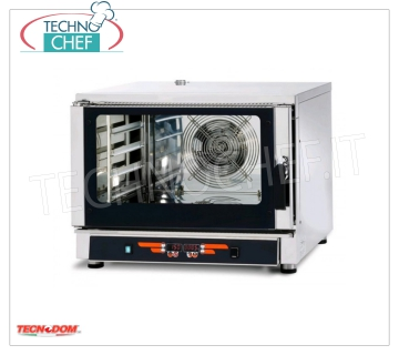 Tecnodom - Digital Electric Steam Convection Oven GN 1/1, mod. FEDL04NEMIDVH2O CONVENTION-STEAM OVEN electric, Ventilated, Professional for GASTRONOMY and PASTRY, capacity 4-TRAY Gastro-Norm 1/1 or mm.600x400 (excluded), DIGITAL COMMANDS, 9 cooking programs, V.400 / 3 + N, Kw.5 , 45, Weight 79 Kg, dim.mm.840x910x670h