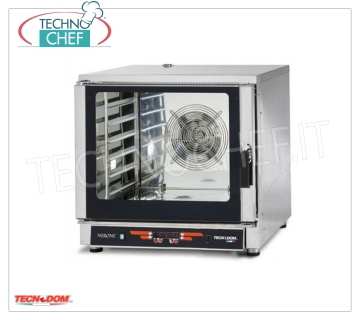 Tecnodom - STEAM ELECTRIC CONVECTION OVEN for 6 GN 1/1 Trays (mm325x530), mod. FEDL06NEMIDVH2O Ventilated electric CONVENTION-STEAM OVEN, Professional for GASTRONOMY, capacity 6-TRAYS Gastro-Norm 1/1 or mm.600x400 (excluded), DIGITAL COMMANDS, 9 cooking programs, V.400 / 3 + N, Kw.7,65, Weight 91 Kg, dim.mm.840x910x830h