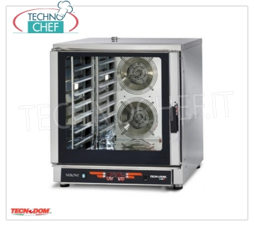 Tecnodom - Digital Electric Steam Convection Oven 7 GN 1/1 Trays, mod. FEDL07NEMIDVH2O CONVENTION-STEAM OVEN Electric Ventilated, Professional for GASTRONOMY and PASTRY, capacity 7 TRAYS Gastro-Norm 1/1 or mm.600x400 (excluded), DIGITAL COMMANDS, 9 cooking programs, V.400 / 3 + N, Kw.10, 7, Weight 106 Kg, dim.mm.840x910x930h
