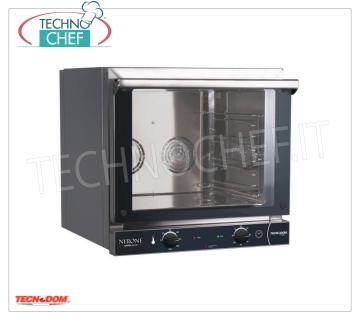 Tecnodom - Electric CONVECTION OVEN 4 Trays 435x350 mm, Professional, mod.NERONE4T / 595V Ventilated electric CONVENTION OVEN for GASTRONOMY and SNACK, capacity 4 TRAYS from 435x350 mm (excluded), version with MANUAL CONTROLS, V.230 / 1, Kw.3.35, Weight 33 Kg, dim.mm.589x660x580h