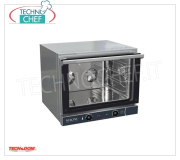 Tecnodom - Electric CONVECTION OVEN 4 GN 1/1 Trays, Professional, mod.NERONE4TGN1 / 1 Ventilated electric CONVENTION OVEN, for GASTRONOMY, capacity 4 TRAYS GN 1/1, mm 530x325 (excluded), version with MANUAL CONTROLS, V.230 / 1, Kw.3.35, Weight 35 Kg, dim.mm.686x660x580h
