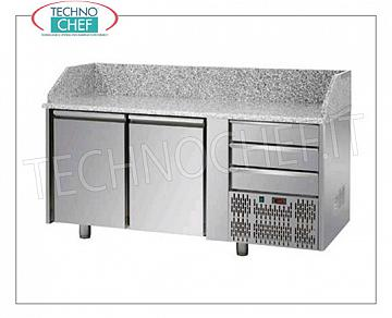 Complete pizza counters with drawers REFRIGERATED PIZZA BENCH with 2 DOORS and 3 NEUTRAL DRAWERS Gastro-Norm 1/1, temp. + 0 ° / + 10 ° C, complete with refrigerating unit and granite worktop with upstand on 3 sides, V.230 / 1, Kw .0,495, Weight 86 Kg, dim.mm.1610x750x1030h