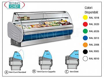 Refrigerated Display Counter 250 cm long, with Reserve, with and without cooling unit REFRIGERATED EXHIBITION STAND, temperature + 3 ° / + 5 ° C, SALINA Line 80, LONG mm 2480, with LIGHTING and REFRIGERATED RESERVE, weight 220 kg, dimensions 2480x900x1262h mm
