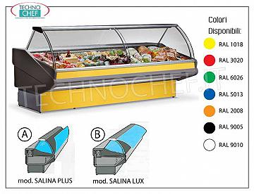 Refrigerated Display Stand 100 cm long, with Reserve, with or without Refrigerant Group REFRIGERATED EXHIBITOR BENCH, temperature + 3 ° / + 5 ° C, SALINA PLUS Line, with TIPPING CURVED GLASS, complete with REFRIGERATED RESERVE, version designed for REMOTE REFRIGERANT UNIT, COMPLETE RANGE with LENGTH from 1060 mm to 3940
