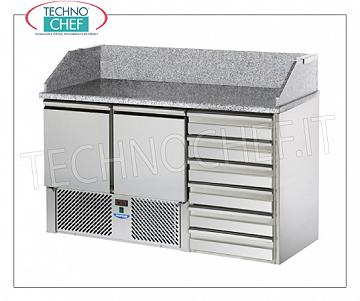 Complete pizza counters with drawers REFRIGERATED PIZZA BENCH, with 2 DOORS + CHEST OF 6 drawers, + 4 ° / + 10 ° C, complete with refrigerating unit, granite countertop with upstand, V.230 / 1, Kw.0.28, weight 216 Kg , dim.mm.1410x700x1070h