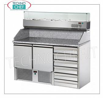 Complete pizza counters with drawers REFRIGERATED PIZZA BENCH, with 2 DOORS + CHEST OF 6 drawers, + 4 ° / + 10 ° C, complete with refrigerating unit, granite top with upstand and REFRIGERATED GN 1/4, V.230 / 1, Kw. 0.28, weight 245 Kg, dim.mm.1410x700x1525h