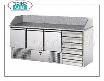 Complete pizza counters with drawers REFRIGERATED PIZZA BENCH with 3 DOORS + CHEST OF 6 drawers, + 4 ° / + 10 ° C, complete with refrigerating unit, granite top with upstand, V.230 / 1, Kw.0.3, weight 227 Kg, dim.mm.1900x700x1070h