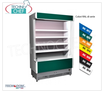 Frigor Murale Display rack, VULCANO Line Deep 60 cm, LONG 133 cm, with and without cooling unit EXHIBITOR WALL FRIGOR, Brand TECNODOM, Line VULCANO 60, with 4 adjustable shelves, LIGHTING superior to neon, temperature + 3 ° / + 5 ° C, predisposed for REMOTE REFRIGERANT UNIT, V.230 / 1, Kw.0,084, Weight 170 Kg, dim.mm.1330x602x1970h