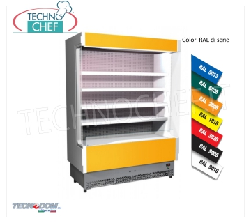 Frigor Murale Display rack, VULCANO Line Deep 60 cm, LONG 148 cm, with and without cooling unit EXHIBITOR WALL FRIGOR, Brand TECNODOM, Line VULCANO 60, with 4 adjustable shelves, LIGHTING higher than neon, temperature + 3 ° / + 5 ° C, prepared for REMOTE REFRIGERANT UNIT, V.230 / 1, Kw.0,084, Weight 200 Kg, dim.mm.1480x602x1970h
