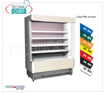 Frigor Murale Display rack, VULCANO Line Deep 60 cm, LONG 158 cm, with and without cooling unit EXHIBITOR WALL FRIGOR, Brand TECNODOM, Line VULCANO 60, with 4 adjustable shelves, LIGHTING higher than neon, temperature + 3 ° / + 5 ° C, prepared for REMOTE REFRIGERANT UNIT, V.230 / 1, Kw.0,084, Weight 225 Kg, dim.mm.1580x602x1970h