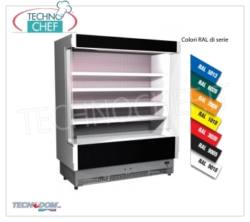 Frigor Murale Display rack, VULCANO Line Deep 60 cm, LONG 1955 mm, with and without cooling unit EXHIBITOR WALL FRIGOR, Brand TECNODOM, Line VULCANO 60, with 4 adjustable shelves, LIGHTING higher than neon, temperature + 3 ° / + 5 ° C, prepared for REMOTE REFRIGERANT UNIT, V.230 / 1, Kw.0,129, Weight 255 Kg, dim.mm.1955x602x1970h