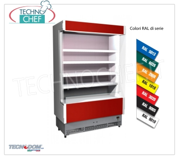 Frigor Murale Display rack, VULCANO Line Deep 60 cm, LONG 108 cm, with and without cooling unit EXHIBITOR WALL FRIGOR, Brand TECNODOM, Line VULCANO 60, with 4 adjustable shelves, LIGHTING superior to neon, temperature + 3 ° / + 5 ° C, predisposed for REMOTE REFRIGERANT UNIT, V.230 / 1, Kw.0,084, Weight 140 Kg, dim.mm.1080x602x1970h