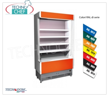 Frigor Murale Display rack, VULCANO Line Deep 60 cm, LONG 88 cm, with and without cooling unit EXHIBITOR WALL FRIGOR, Brand TECNODOM, Line VULCANO 60, with 4 adjustable shelves, LIGHTING higher than neon, temperature + 3 ° / + 5 ° C, prepared for REMOTE REFRIGERANT UNIT, V.230 / 1, Kw.0,055, Weight 120 Kg, dim.mm.880x602x1970h
