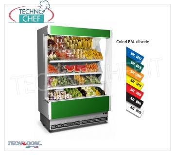 Frigor Murale Exhibitor, Line VULCANO 80, LONG 1480 mm, with and without cooling unit EXHIBITOR WALL FRIGOR, Brand TECNODOM, Line VULCANO 80, with 3 inclined shelves, LIGHTING upper neon, temperature + 6 ° / + 8 ° C, prepared for REMOTE REFRIGERANT UNIT, V.230 / 1, Kw.0,084, Weight 225 Kg, dim.mm.1480x764x2040h
