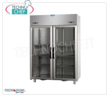 Freezer cabinet with 2 double temperature glass doors, lt. 1380, TECNODOM brand 2 Glass Door Refrigerator / Freezer Cabinet, TECNODOM brand, stainless steel structure, capacity lt. 1380, version with 2 independent compartments, 2 motors, temp. -18 ° / -22 ° C, ventilated refrigeration, V.230 / 1, Kw. 0.65 + 0.65, Weight 235 Kg, dim.mm.1420x800x2030h