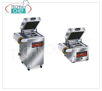 Semi-automatic vacuum heat-sealing machines for trays