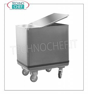 TECHNOCHEF - Stainless steel hoppers on wheels for flour and sugar Wheeled stainless steel hopper, complete with movable lid that can be opened on 2 sides with hinge, 118 lt capacity, weight 16 Kg, dim.mm.350x580x700h