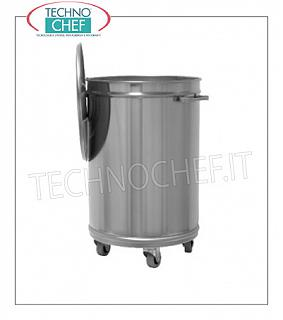 Stainless steel waste bins AISI 304 stainless steel bin on wheels with lid, capacity 50 liters, weight Kg.9, diam.mm 395x620h