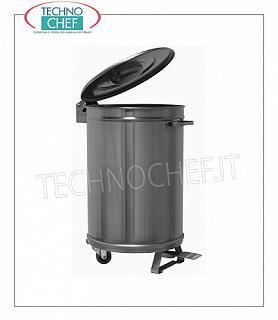 TECHNOCHEF - Stainless steel bins, Mod.09004A0 AISI 304 stainless steel bin on wheels, lid with pedal opening, capacity 50 liters, weight Kg.10, diam.mm 395x620h