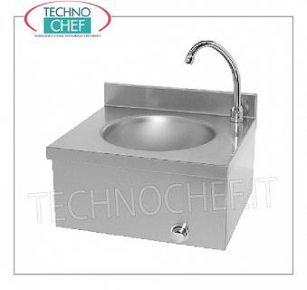 Stainless steel hand basin with knee control, for wall installation Stainless steel hand basin with upstand, wall-mounted, with 260 mm diameter tank, knee-operated dispenser with timer, weight 5.5 kg, dim.mm.400x350X260h