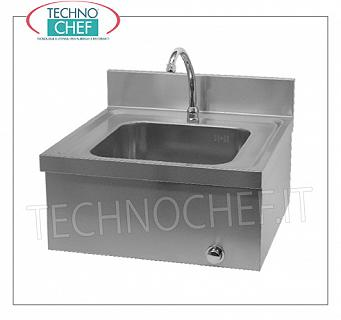 STAINLESS STEEL WASHBASINS with KNEE CONTROL, wall-mounted Wall-mounted stainless steel hand basin with upstand, bowl dim.mm 330x330x170h, knee-operated dispenser with timer, weight 9 Kg, dim.mm.500X500X310h