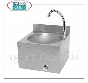 Stainless steel hand basin with knee control, for wall installation Stainless steel wall-mounted hand basin with upstand, 260 mm diameter bowl, knee-operated dispenser with timer, weight 4.9 kg, dim.310X300X260h