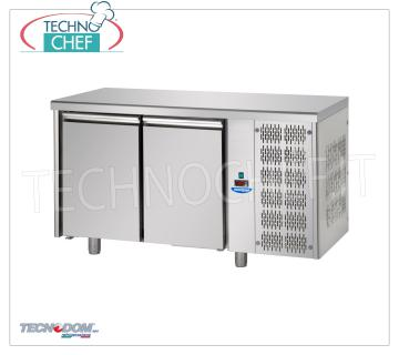 Tecnodom - Professional 2-door Refrigerator / Refrigerated Table, Mod.TF02MIDGN REFRIGERATED TABLE 2 doors, TECNODOM brand, capacity lt.310, operating temperature 0 ° / + 10 ° C, ventilated refrigeration, Gastro-Norm 1/1, V.230 / 1, Kw.0.495, Weight 86 Kg, dim .mm.1420x700x850h