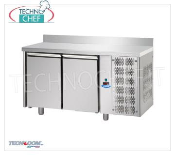 Tecnodom - 2 Doors Professional Fridge / Refrigerated Table with Upstand, Mod.TF02MIDGNAL REFRIGERATED TABLE 2 doors with upstand, TECNODOM brand, capacity lt.310, operating temperature 0 ° / + 10 ° C, ventilated refrigeration, Gastro-Norm 1/1, V.230 / 1, Kw.0.495, Weight 87 Kg , dim.mm.1420x700x950h