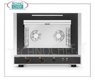 Tecnoeka - Electric CONVECTION OVEN, 4 GN1 / 1 Trays, Professional mod.EKF411 ELECTRIC CONVENTION OVEN Ventilated with HUMIDIFIER, cooking chamber for 4 GASTRO-NORM 1/1 (530x325 mm), ELECTROMECHANICAL CONTROLS, V.230 / 1, Kw.3.4, Weight 50.4 Kg, dim.mm.784x752x634h