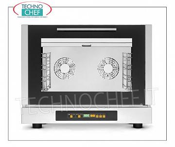 Tecnoeka - Three-phase Electric CONVECTION OVEN, 4 GN 1/1 trays, Humidifier mod.EKF411 / 3D CONVENTION FURNACE Electric Ventilated Three Phase, Professional, with HUMIDIFIER, cooking chamber for 4 GASTRO-NORM 1/1 TRAYS (530x325 mm), DIGITAL CONTROLS with 99 programs, V.400 / 3 + N, Kw.5,2, Weight 50 , 6 Kg, dim.mm.784x752x634h